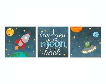 Outer Space Rocketship I Love You to the Moon and Back Canvas Wall Art Set of 3