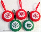 SPECIAL listing for JEREMY - 1 green piece Cross Stitch Ornament, Handmade Felt Decoration
