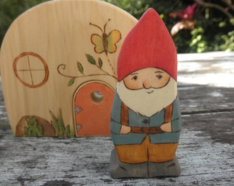 Wooden Toy- Daddy Gnome With Child On Back-Surprise Story Dice-Waldorf Inspired