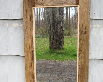 SOLD Medium Rustic Primitive Barn Wood Mirror no.1609