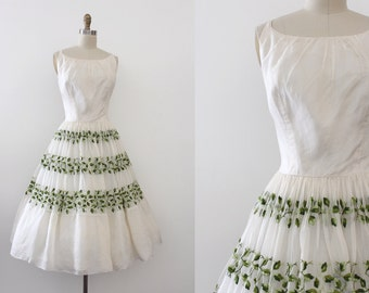 vintage 1950s dress // 50s embroidered chiffon party dress