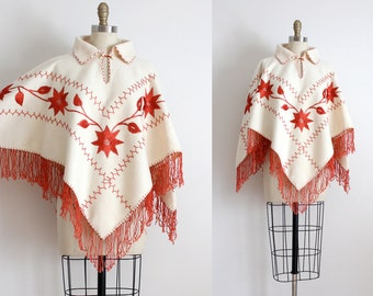 vintage 1960s cape // 60s wool embroidered cape