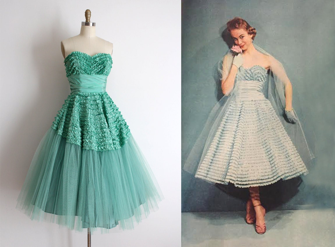 Vintage 1950s Prom Dress // 50s Strapless Green Ruffle Prom