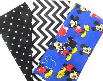 Three Pack Bundle of Disney Mickey Mouse, Chevron and Polka Dot Print Flannel Fat Quarters