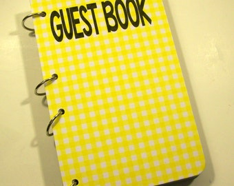 Yellow Gingham Guest Book, Rustic Birthday, Barnyard Party, Sign in Book, Barnyard Baby Shower, Rustic Party
