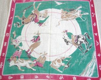 Old West Cowboy Printed Cotton Handkerchief, Little Boy's Hankie, Child's Hankie