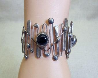 Brutalist Sterling Silver Bracelet, Artisan, Vintage