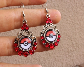 Pokeball Crystal Silver Alloy Drop Earrings