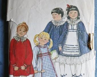 Child Girls Dress Pinafore Sewing Pattern Butterick Size 2 4140 Long Dress Long Tabard