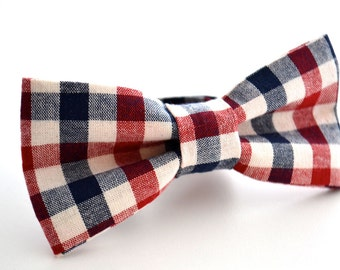 Bowtie- Navy and Maroon Plaid
