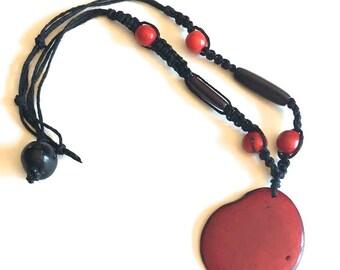Macrame Necklace/ Tagua and Acai Seed Necklace/ Boho Chic/ Macrame Jewelry/ Tribal/ Hippie