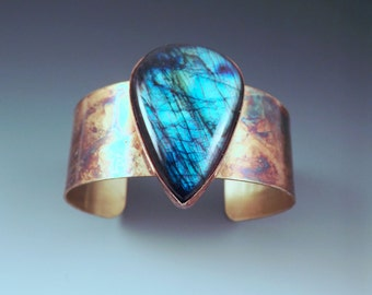Blue Purple Labradorite- Colorful Patina- Boho Chic- Metal Gemstone Cuff Bracelet