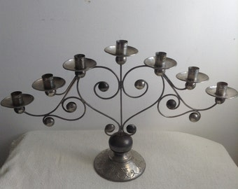 Tin 7 Candle holder, Candelabra. Made in Mexico.   Vintage 1960.  Mid century, Mexican Folk Art, Danish Modern, Eames era.