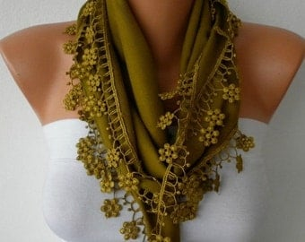Olive Green Floral Pashmina Scarf,Winter Scarf, Cowl Scarf, Bridesmaid Gift,Gift Ideas For Her, Women Fashion Accessories,Christmas Gift