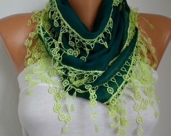 Emerald Green Scarf, St.Patrick's Day Gift , Neon Green Cotton Cowl Scarf Bridesmaid Gift Gift Ideas For Her Women Fashion Accessories