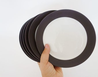 6 Mid Century Dansk IHQ Flagstone Brown Smooth Plates Flamestone Design by Jens Quistgaard Danish China