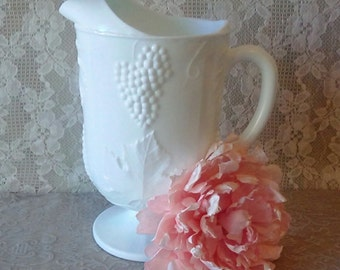 Milk Glass, Large Milk glass Pitcher, Colony Harvest Grape design, Indiana Glass, Wedding Bridal and Vintage Home decor
