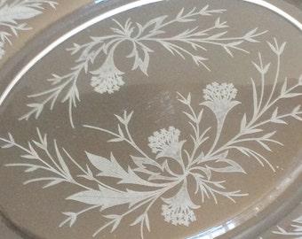 Vintage Fostoria Heather Platter / Etched Glass Oval Serving Platter