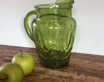 Vintage Avacado Green Anchor Hocking Glass Pitcher / Colonial Tulip Pitcher