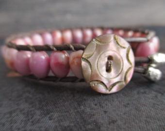 VALENTINE SALE Pink leather bracelet - Valentine - antique mother of pearl button sterling silver semi precious stone boho by slashKnots