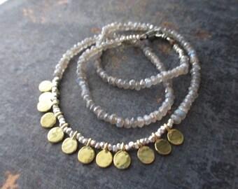 Labradorite gemstone necklace - Gypsy - fine silver gold vermeil neutral everyday necklace by slashKnots