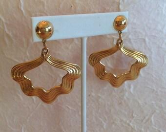 Gypsy Open Dangle Earrings Bright Gold Tone Finish
