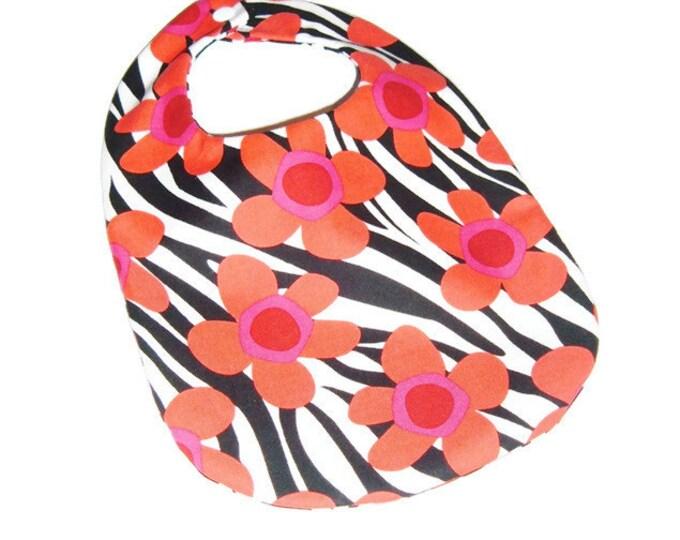 Baby Girl Bib - Red Flowers on Zebra Print - Baby Gift Under 10