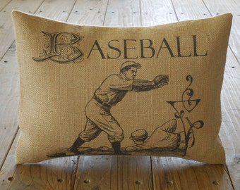 Baseball Player Burlap Pillow,  Sports Baseball, INSERT INCLUDED