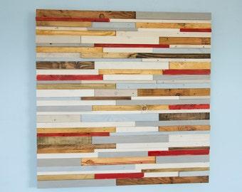 "Wood Wall Sculpture Art Rustic Industrial reclaimed wood 42 x 42""  wood pieces grey, walnut, yew, oak, blue, white"