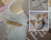 Edible Pair of baby shoes -boy or girl  Cake Topper Made of Vanilla Fondant boy or girls ready to place on your cake or table center piece