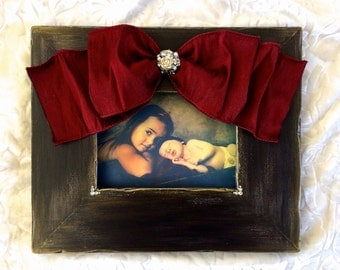 Picture Frame with Bow Baby Girl Wedding Portrait Holiday Photo Ebony Jeweled Bling Personalized Family Christmas Red