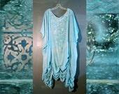 Clearance Sale Aqua Blue Sea Maiden Rayon Dress Tunic Hand Painted 2x 3x 4x White Shirred Gathers Spring Summer Boho Hippie Chic Caftan