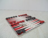 Vintage Remotrol Magnetic Backgammon & Acey Ducey Travel Game - Retro Red and Black 32 Pieces Pocket Set with Folding Board and Instructions