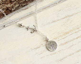 Sterling Silver Anchor and Compass Lariat Necklace