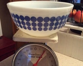 Reserved for Laura (LauraDesign) Pyrex  vintage blue dot mixing bowl 403 2 1/2 quart