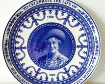 Her Majesty Queen Elizabeth The Queen Mother Blue & White Wedgwood Bone China Plate Collection Series Collectors Wall Plate Queens Ware