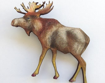 Moose Elk with Antlers Country Wooden Brooch Pin Gift Laser Cut For Outdoors Woodland Gift for Wildlife Conservation