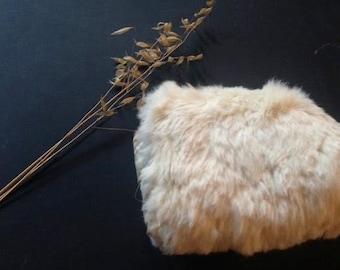 child toddler ooak vintage rabbit wool off white soft furry cuddly winter snow hand warmer muff
