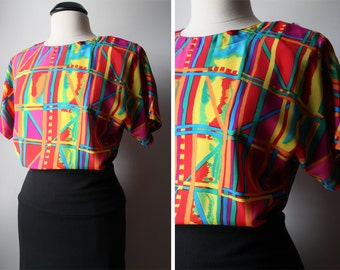 Vintage 80s Retro Abstract Multicolor Top with Keyhole back Size Small 6-8