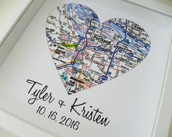 Anniversary Gift Personalized Heart Map Unique Anniversary Gift FRAMED ART First Anniversary Gift Paper Gift Valentines Day Gift for Couple