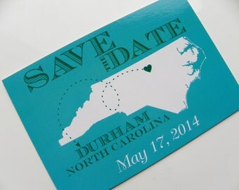State Map Save the Date Postcards Wedding Invitation Set of 48 Any Location Worldwide North Carolina Save The Date State Map Save the Date