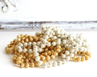 Vintage Mercury Glass Bead Christmas Garland Silver and Gold