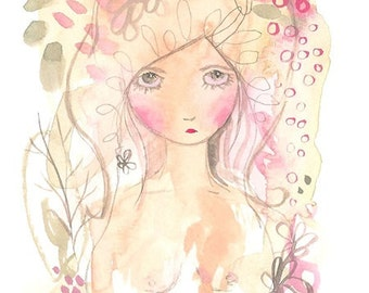 Girl abstract print, painting, flowers, nature, pink and green