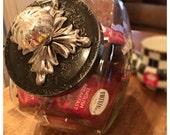 MacKenzie Childs inspired Cookie Jar Mercury Glass Knob Black and Silver