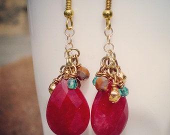 Red Jade Cluster Earrings
