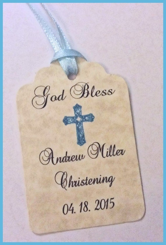 Baby Boy Gift Tags : Items similar to baby boy christening gift favor tags on etsy