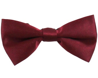 Boy's solid polyester bowtie burgundy elastic strap buckle closure, for Formal Occasions
