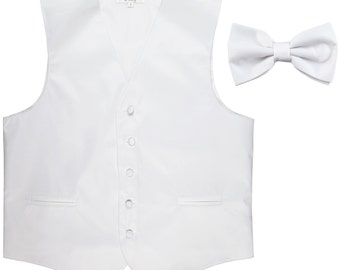Men's Solid White Polyester Vest with Pre-Tied Bowtie, for Formal Occasions