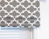 Custom Made Gray/White Mock Roman Valance  Faux Roman Shade Fynn Quatrefoil Moroccan Geometric Trellis