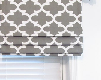 Custom Made Faux Roman Shade Fynn Snowy Blue Quatrefoil